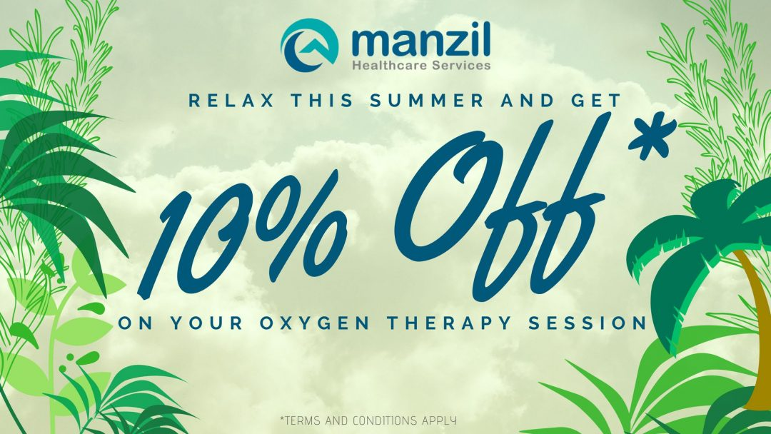 Manzil Health 10% Off discount code on Summer Oxygen Therapy Session