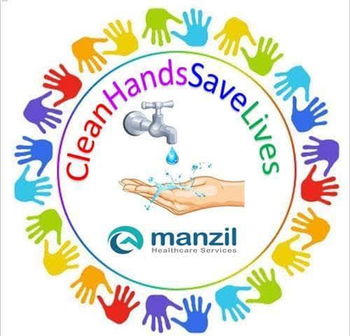 Manzil Health Clean Hands Save Lives Badge