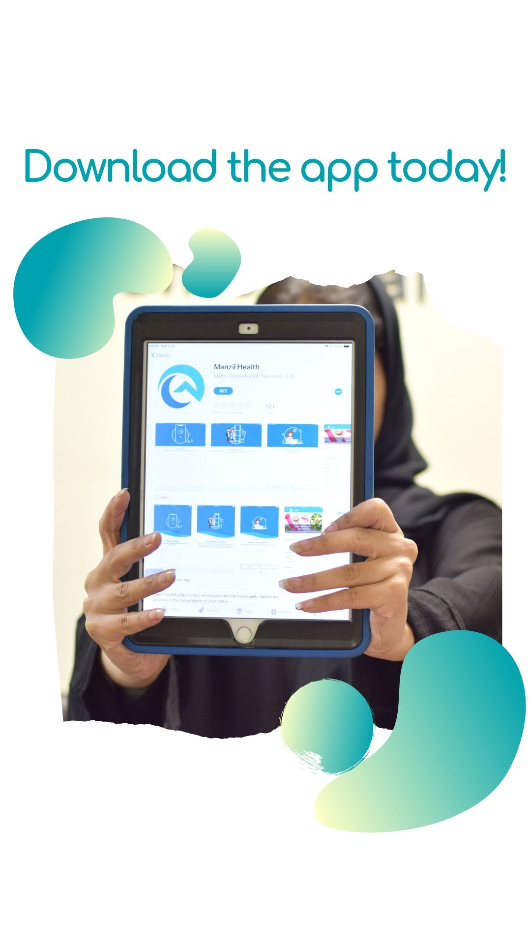 Manzil Health application on tablet