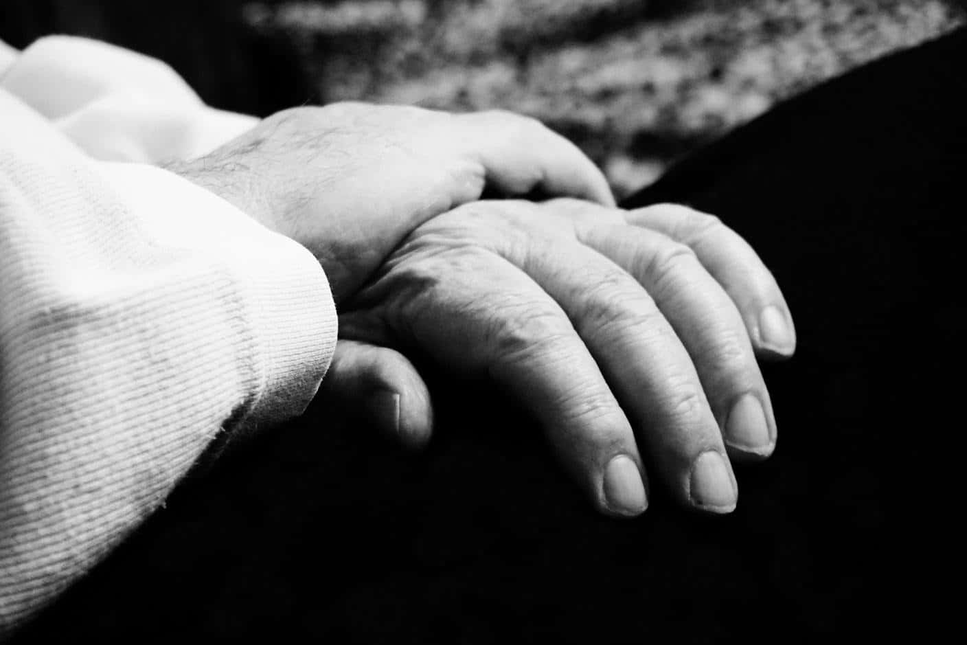 a monochrome picture of hands